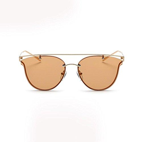 de Gafas Moda marrón Metal sol sol Tono de Clásico Mujeres Espejo Marco Las Gato Ojo Gafas VENMO qZa7XwR