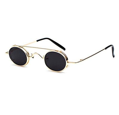 de Retro gafas mujeres punky Gris hombres hippie ovales estilo Dorado extraíbles no polarizado vintage UV400 sol y SHFxv4S