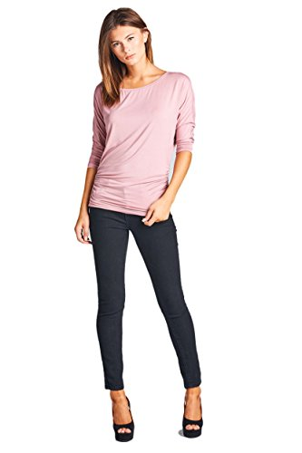 ReneeC. Women's Casual Natural Bamboo 3/4 Sleeve Extra Soft Top - Made in USA (Large, Rose)