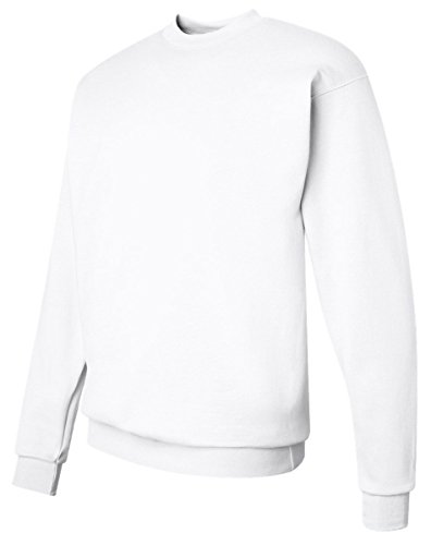 Hanes Men's ComfortBlend EcoSmart Crewneck Sweatshirt (White, (Polyester 8 Ounce Sweatpants)