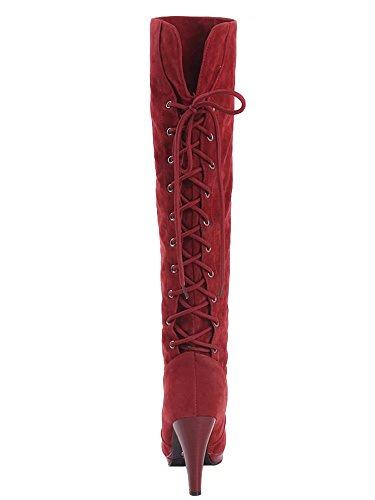 AIYOUMEI Damen Lace Up High Heels Kniehohe Stiefel mit 10cm Absatz Modern Winter Stiefel Schuhe Rot
