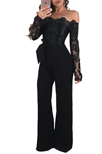 Ophestin Women Sexy Off Shoulder Floral Lace Long Sleeve Bodycon Wide Leg Jumpsuits Rompers with Belt Black XL