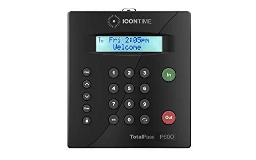 TotalPass P600 Employee Time Clock | Made in USA| Ready to Use Out-of-The-Box | Manage Timecards via USB, Network, Wi-Fi or Web| Time Clock Entry Options PIN-Keypad, RFID Badge or Web|NO Monthly Fees