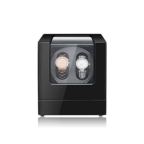MaselexWatch Winder Automatic DoubleWatch Winder Box with Quiet Mabuchi Motor and Advanced Rotational Control Black