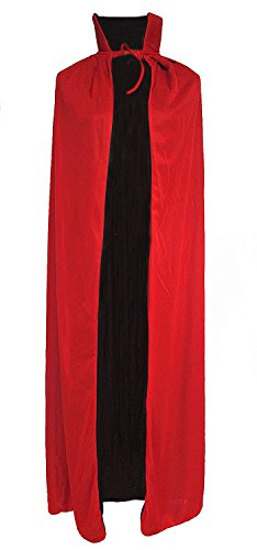 Black and Red Reversible Halloween Christmas Cloak Masquerade Party Cape Costume (55 inch, Stand (Pirate Makeup For Men Halloween)