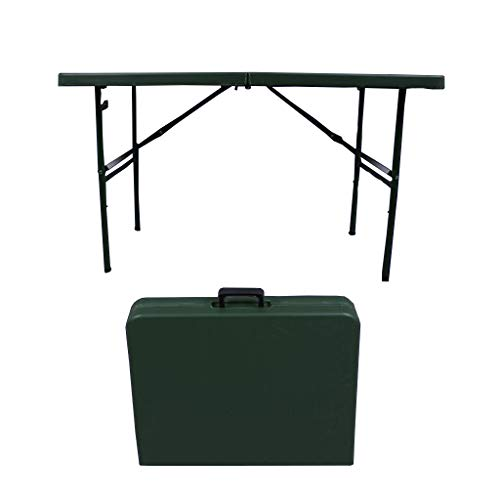 Top Round Table Folding Half (QZ HOME Folding Table Plastic Top Folding Half Table 400kg Carrying Capacity Steel Fixed Pin (Color : Green-1))