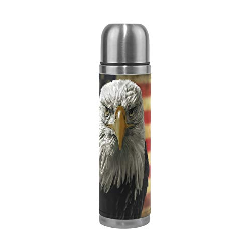 Stainless Steel Eagles Thermos (American Bald Eagle On Grunge Flag Water Bottle Stainless Steel Leak Proof Double Walled Vacuum Insulated Travel Coffee Mug Genuine Leather Cover Drink Cup 17 OZ)