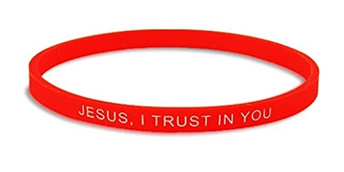 Religious Inspirational Silicone Stretch Bracelet for Youth or Adult, 8 Inch, Pack of 24 (Red (Jesus I Trust in You)) by Religious Gifts