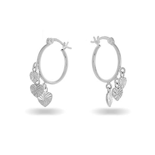 PORI JEWELERS Sterling Silver Diamond Cut Charm Hoop Earrings - for Women - French Lock (Heart)