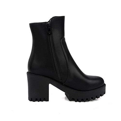 AgooLar Women's Zipper Round Closed Toe High-Heels PU Low-top Boots Black ExwGx4f0