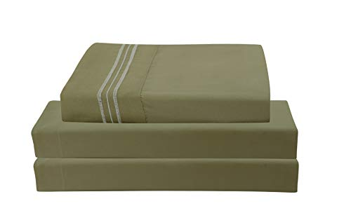 Unique Home Super Soft Microfiber 200 Count Sage King Sheets & Pillow Set
