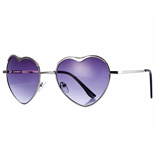 Pro Acme Women's Thin Metal Frame Heart Shaped Sunglasses Fashion Eyewear (Grey - Sunglasses Heart Aviator