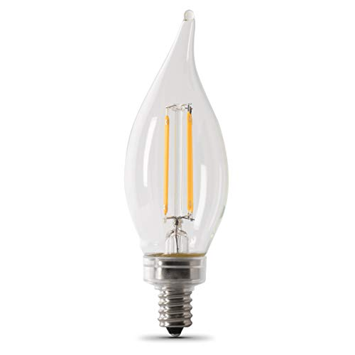 """Feit Electric CFC60/927CA/FIL/6 60 W Equivalent Dimmable Candelabra Flame Tip Clear (6-Pack) LED Light Bulb, 4.3""""H x 1.3""""W, Soft White 2700K, 6 Piece"""
