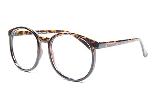 Oversize Big Frame Student Nerd Classic Rounded Korean Style Fashion Clear Lens Glasses (Tortoise)