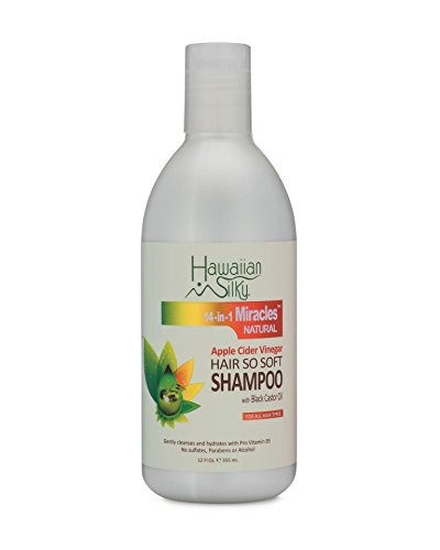 Apple Cider Vinegar Daily Shampoo Sulfate-Free, 12 fl oz - Black Castor Oil Enriched Extract - Treat Dry and Damaged Scalp | for Men, Women & Kids by Hawaiian Silky
