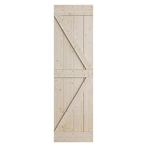 SmartStandard 24in x 84in Sliding Barn Wood Door Pre-Drilled Ready to Assemble, DIY Unfinished Solid Spruce Wood…