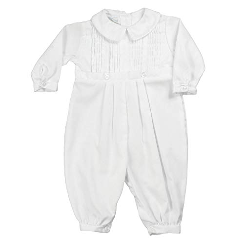 Petit Ami Baby Boys' Pique Christening Longall with Hat, 18 Months, ()