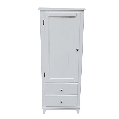 SW Wood Single Wardrobe Cupboard 2 Storage Drawer White - White Poplar Cabinet