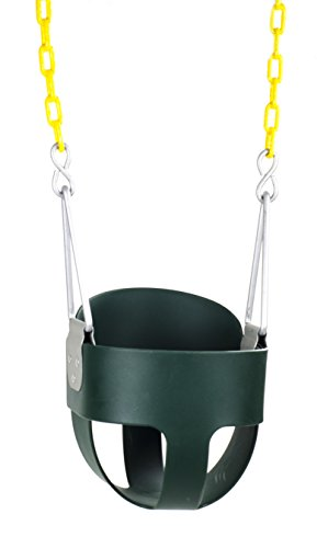 High Back Full Bucket Toddler Swing Seat with Plastic Coated Chains - Swing Set Additions & Replacements - Outdoor Play Equipment - Green (Toddler Baby Swing)