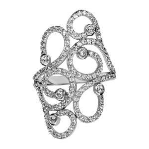 1001 Bijoux - Bague argent rhodié volutes oxydes blancs sertis - tour de doigt 50