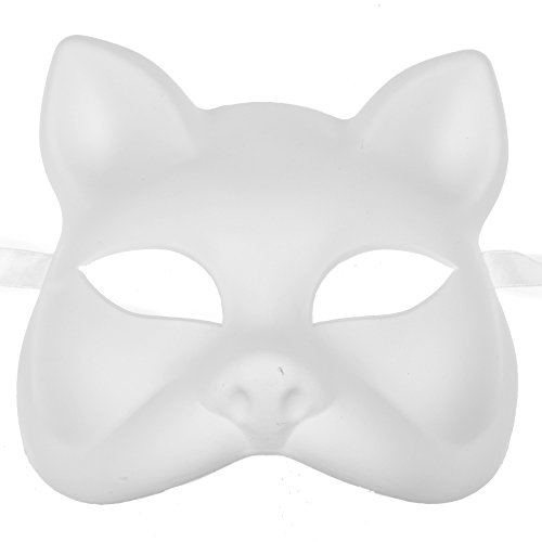 L.M.K Unpainted White Plain Arts and Crafts Cat Venetian Masquerade Version Face -