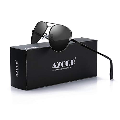 - AZORB Polarized Aviator Sunglasses Mirrored Lens Metal Frame for Men Women, 100% UV 400 Protection (Blcak Frame/Black Lens)