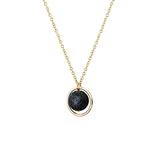 Circle Gemstone Necklace - Black Lava Rock in Circle Necklace Natrual Gemstones Essential Oil Diffuser Necklace for Women (Gold)