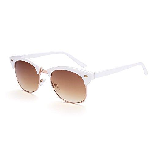 Naivo Women's YJMH081-2 Classic 90'S Retro Wayfarer Sunglasses, - White Sunglases