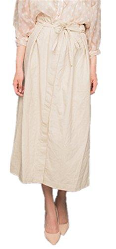 OMUUTR Printemps et t Nouvelle Jupe Ouverte Fourche en Dentelle de Coton et Lin Couleur Unie Mode lgant Simple Jupe Taille Haute Blanc L