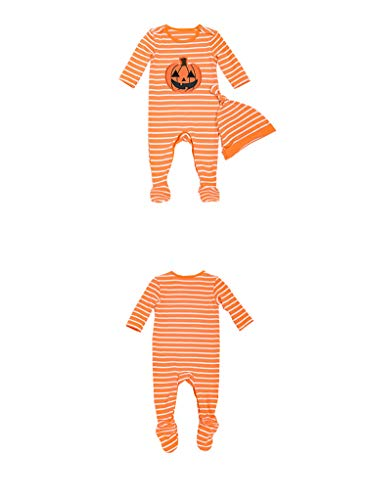 (Mornyray Newborn Baby Halloween Pumpkin Footed Jumpsuit 2PCS Pajamas Set Size 80(12-24M) (Yellow))
