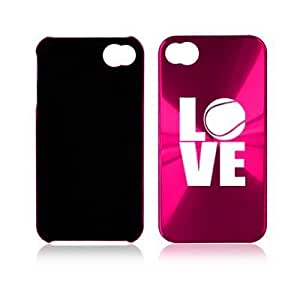 Apple iPhone 4 4S Hot Pink A1660 Aluminum Hard Back Case Cover Love Tennis