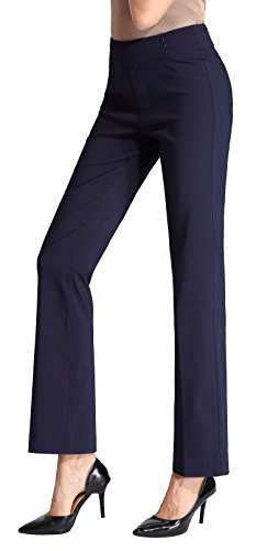 MOVING DEVICE Womens Dress Pant Pull on Stretch Trousers for Work & Casual Wear