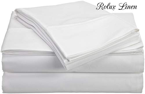 "Rolux linen Queen Sleeper Sofa Bed Sheet Set - White Solid 100% Egyptian Cotton 800 Thread Count Fit Up to 6"" inches Deep"