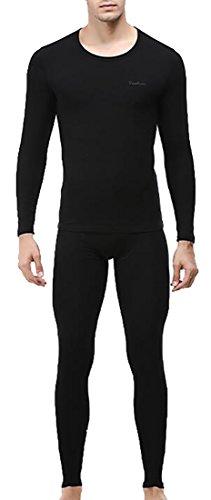 today-UK Men's Heat Retention Warm Thermal Long Underwear Set Black