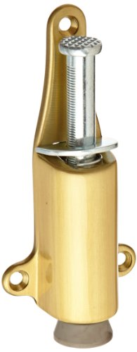 Rockwood 459.4 Brass Spring Loaded Plunger Stop, #8 X 3/4'' OH SMS Fastener, 1-7/8'' Projection, 1-3/8'' Base Width x 5-3/8'' Base Length, Satin Clear Coated Finish by Rockwood