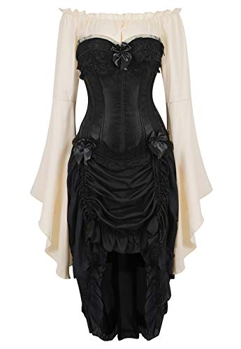 Zhitunemi Women Steampunk Corset Dress Medieval Peasant Chemise Costume Victorian Saloon Girl Dresses Black Small -