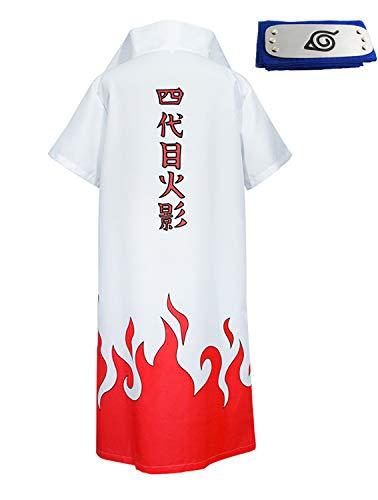 - HappyShip Hokage Cloak Minato Jacket with Headband Minato Namikaze Yondaime Hokage Cape Cosplay (XX-Large) White