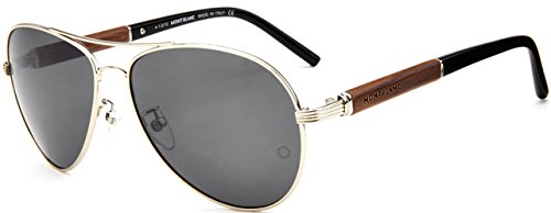 MontBlanc MB409S 16A Men's Classic Aviator Full-Rim Polarized Sunglasses, Silver Black Frame / Brown Shaded Lens ()