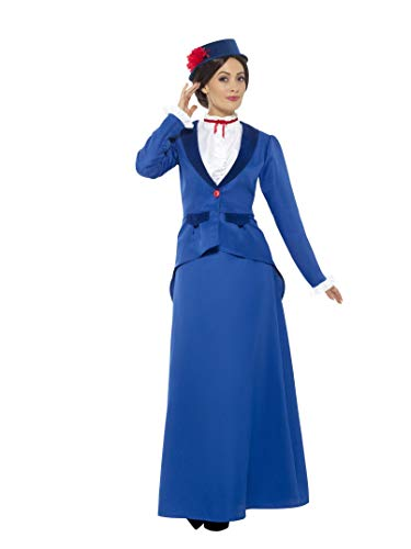 Smiffys Women's Victorian Nanny Costume, Blue, Medium -