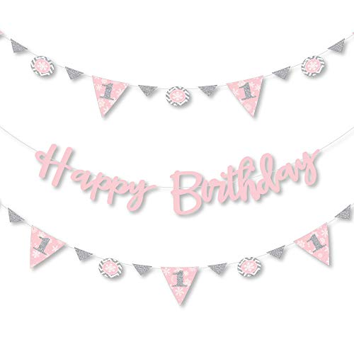 Big Dot of Happiness Pink Onederland - Holiday Snowflake Winter Wonderland Birthday Party Letter Banner Decoration - 36 Banner Cutouts and Happy Birthday Banner Letters