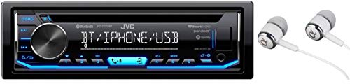JVC KD-TD70BT Single DIN Bluetooth in-Dash CD AM/FM USB Auxiliary Digital Media Car Stereo Receiver w/LCD Text Display Pandora/Spotify/iHeartRadio/iPhone Control/Free ALPHASONIK Earbuds