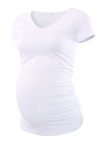 Pinkydot Women's V Neck T Shirt Classic Side Ruched Pregnancy Maternity T-Shirt - Maternity White Tee