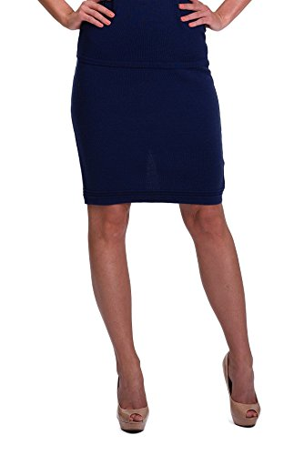 KNITTONS Women's 100% Italian Merino Wool High Waisted Wool Pencil Skirt (L, Navy (Navy Wool Skirt)