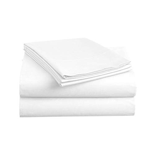 Deep Flat Sheet - Luxe Bedding Sets - Microfiber King Size Sheets Set 4 Piece, Pillow Cases, Deep Pocket Fitted Sheet, Flat Sheet Set King - White