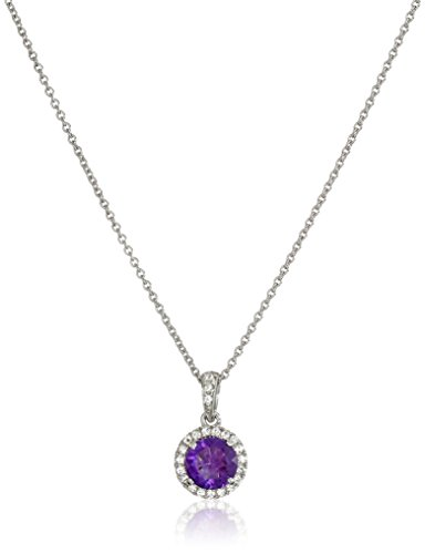 Jewelili Sterling Silver 6mm Round Gemstone and Created White Sapphire Halo Pendant Necklace, 18 Rolo Chain