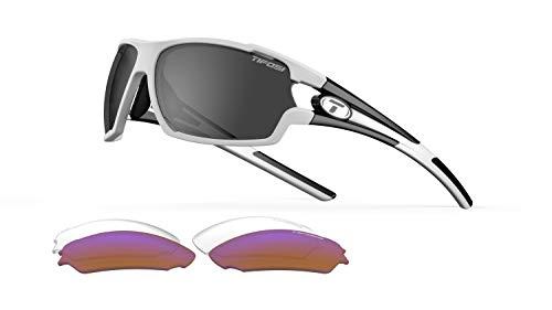 Tifosi Amok Sunglasses (White/Black, Smoke/AC Red/Clear) ()