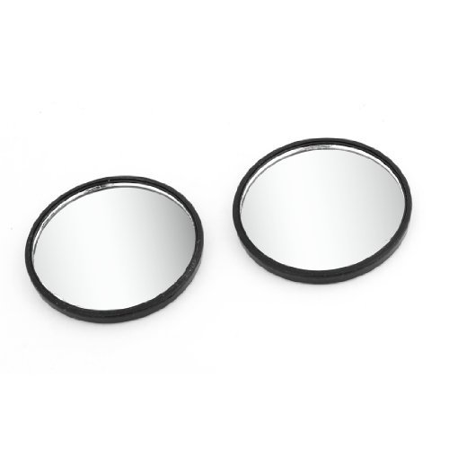 """Water & Wood 2 Pcs Auto Car Black Stick-on Round Rearview Blind Spot Mirror 2.0"""" with Car Cleaning Cloth"""