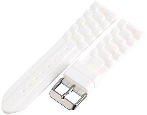(18MM WHITE RUBBER WATERPROOF SPORT DIVER WATCH BAND STRAP FITS)