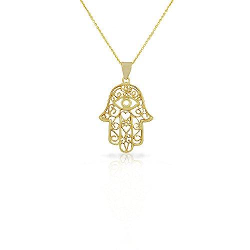 925 Sterling Silver Yellow Gold-Tone Large Filigree Womens Evil Eye Hamsa Pendant Necklace -
