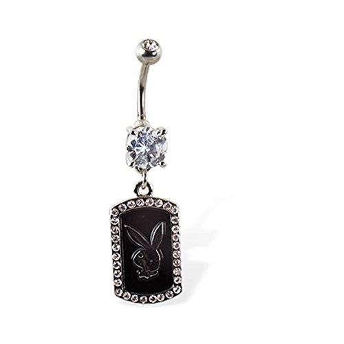 Jeweled Belly Button Ring With Dangling Jeweled Dog Tag With Playboy Bunny Head